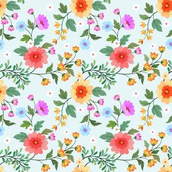 Patrón de diseño de vectores de flores coloridas