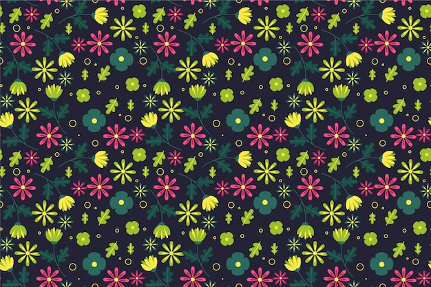 Patrón ditsy en fondo de flores pequeñas