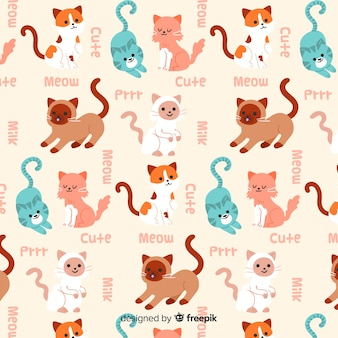 Patrón divertido garabatos gatos y palabras