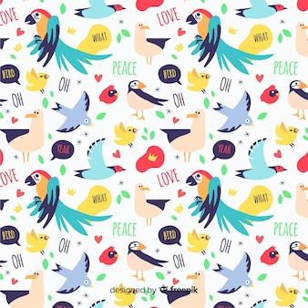 Patrón divertido garabatos pájaros y palabras