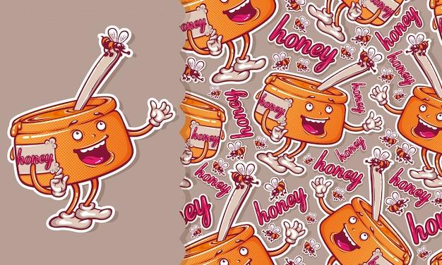 Patrón con divertidos dibujos animados tarro de miel y abeja linda en estilo retro.