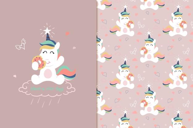 Patrón de donut unicornio