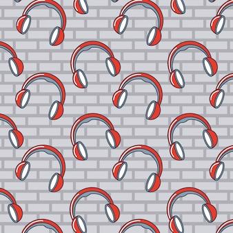 Patrón de doodle de auriculares