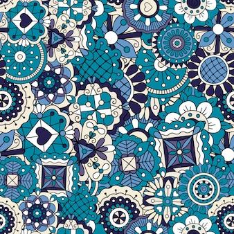 Patrón de doodle azul