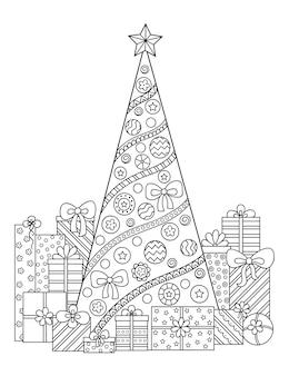 Patrón de doodle en blanco y negro. adornos navideños, árbol de navidad y regalos.