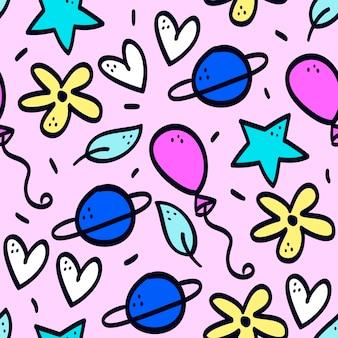 Patrón de doodle colorido