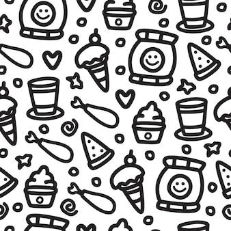 Patrón de doodle de comida de dibujos animados dibujados a mano