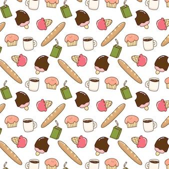 Patrón de doodle de comida linda