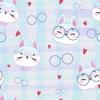 Patrón doodle conejo bebé en acuarela.