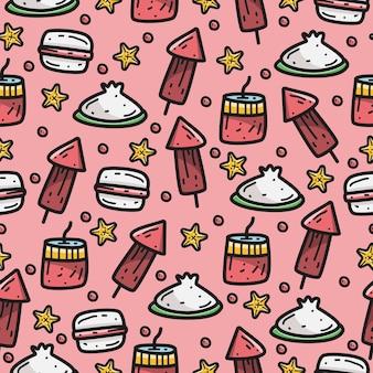 Patrón de doodle de dibujos animados de celebración china
