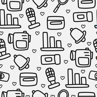 Patrón de doodle de dibujos animados dibujados a mano
