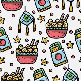 Patrón de doodle de dibujos animados de fideos ramen