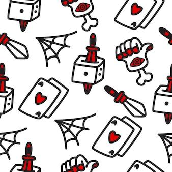 Patrón de doodle de dibujos animados de halloween