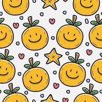 Patrón de doodle de dibujos animados naranja
