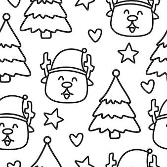 Patrón de doodle de dibujos animados de navidad