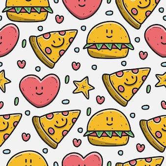 Patrón de doodle de dibujos animados de pizza y hamburguesa