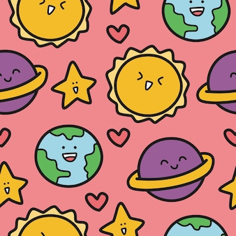 Patrón de doodle de dibujos animados de planeta