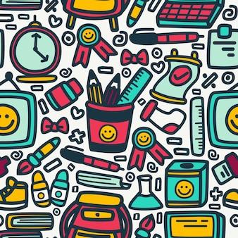 Patrón de doodle de dibujos animados de regreso a la escuela