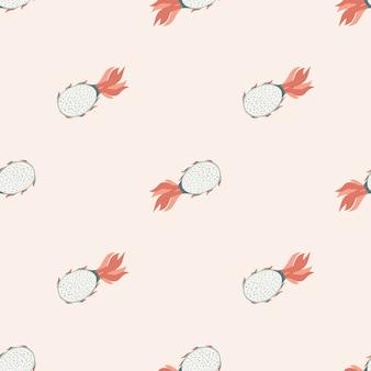 Patrón de doodle sin fisuras de pitahaya en tonos rosa pastel claros. comida de verano