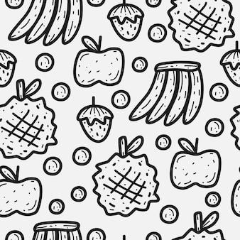Patrón de doodle de fruta de dibujos animados