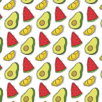Patrón de doodle de frutas lindas