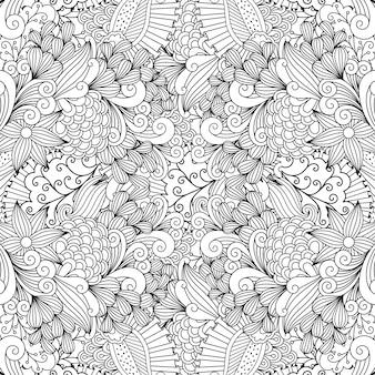 Patrón de doodle de hojas y remolinos lineales.