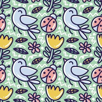Patrón de doodle de jardín con iconos y elementos de diseño