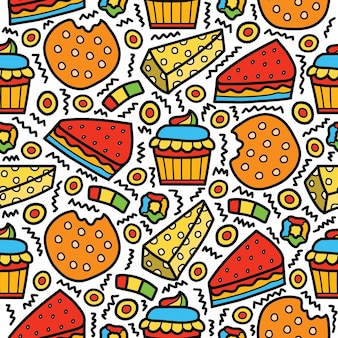 Patrón de doodle de postre de dibujos animados dibujados a mano