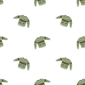 Patrón de doodle transparente aislado con siluetas de suéter de lana verde