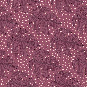 Patrón de doodle transparente creativo con adorno de monstera estilizada.