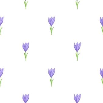 Patrón de doodle transparente con flor de azafrán de contorno azul simple
