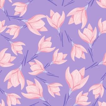 Patrón de doodle transparente con flor de azafrán rosa
