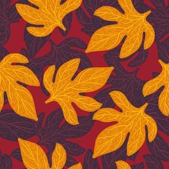 Patrón de doodle transparente floral abstracto con adornos aleatorios de color naranja y morado.
