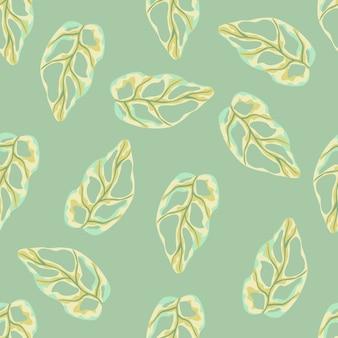 Patrón de doodle transparente con formas simples de monstera amarillo. fondo verde claro