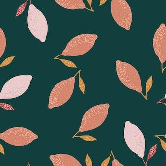 Patrón de doodle transparente con limón rosa