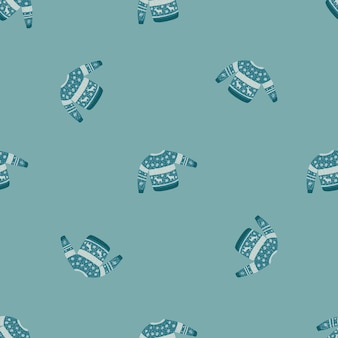 Patrón de doodle transparente de moda con estampado acogedor de suéter. concepto de invierno