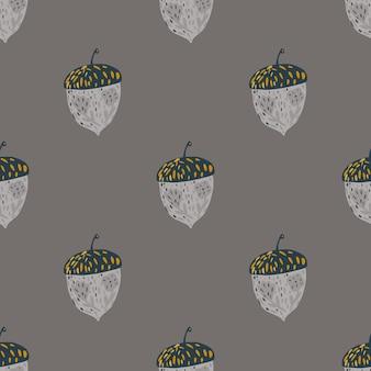 Patrón de doodle transparente de naturaleza oscura con formas de bellota dibujadas a mano gris