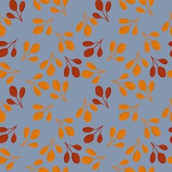 Patrón de doodle transparente de otoño con ramas de otoño de color naranja y marrón. adorno aleatorio sobre fondo azul. ilustración de stock.