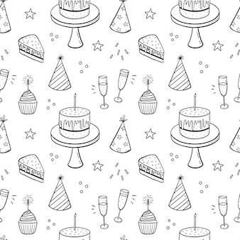 Patrón de doodle transparente con pasteles festivos con velas, sombreros de fiesta y champán