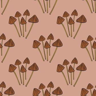 Patrón de doodle transparente de seta psilocybe semilanceata contorneada. fondo rosa pastel. estilo simple. ilustración de stock. diseño vectorial para textiles, telas, papel de regalo, papeles pintados.