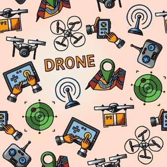 Patrón de drones a mano alzada