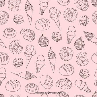 Patrón de dulces dibujados a mano y helados