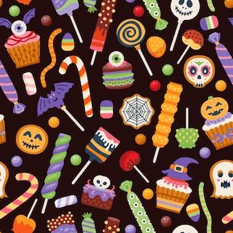 Patrón de dulces de halloween. fondo transparente con dulces de truco o trato.