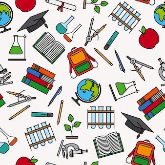 Patrón educativo con elementos de suministro escolar.