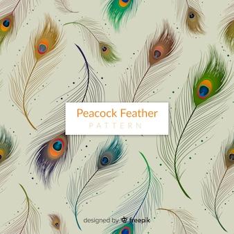 Patrón elegante de plumas de pavo real con diseño realista