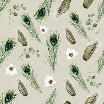 Patrón elegante con ilustración acuarela de plumas de pavo real