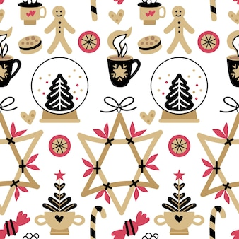 Patrón elegante de navidad uno de hygge sin costuras