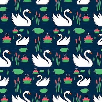 Patrón con elegantes cisnes blancos