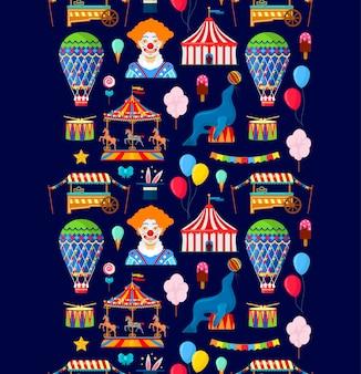 Patrón con elementos de circo y diversión
