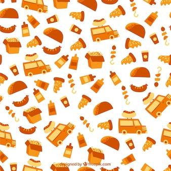 Patrón de elementos de comida en color naranja